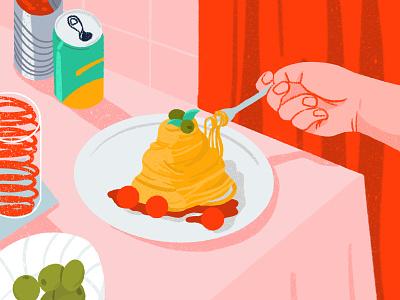 Spaghetti tomato food soda can olive spaghetti illustration