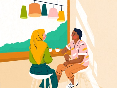 Hanging out afternoon tea coffee afternoon coffee conversation chat cuppa chill hang out cafe lights woman character illustration