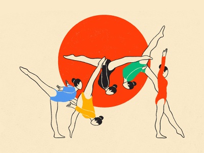 Olympic Games Tokyo 2020 motion gymnastic sports olympic games olympic japan tokyo woman illustration