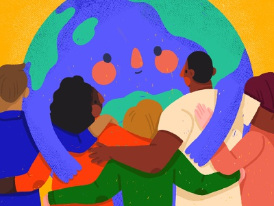We unite in diversity planet earth care for earth go green planet diverse together embrace hug climate change earth black man black women diversity woman character illustration