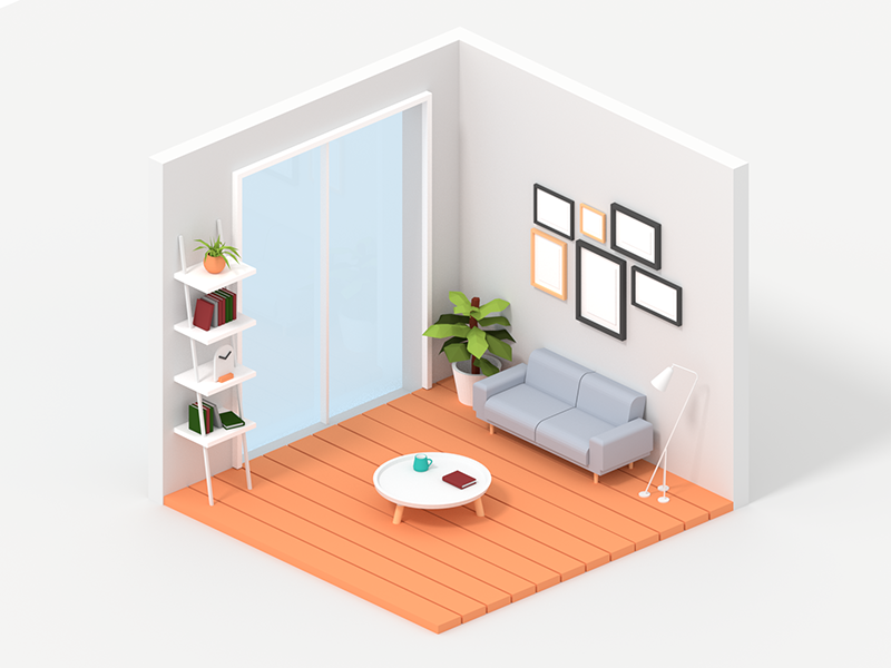 Living room furnitures scandinavian low poly living room isometric blender 3d