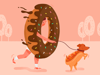 Donut walks a hotdog