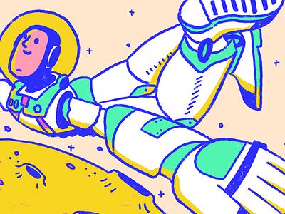 Buzzing away space neon astronaut buzz lightyear toystory illustration