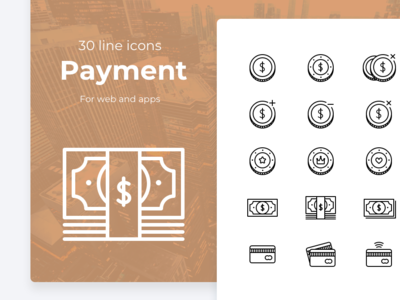 Payment cash and money icons