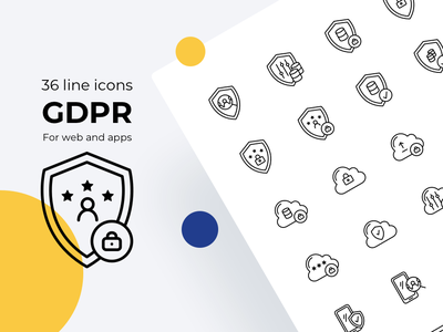 GDPR line icons cloud mobile mobile privacy cookie privacy data regulation data protection icons icon eu gdp