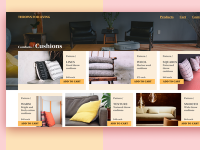 Daily UI Day #012: eCommerce Cushion Store! typography layout web design dailyui