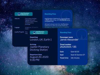 Daily UI Day #024: InterPlanetary Travel Boarding Pass typography boarding pass layout dailyui