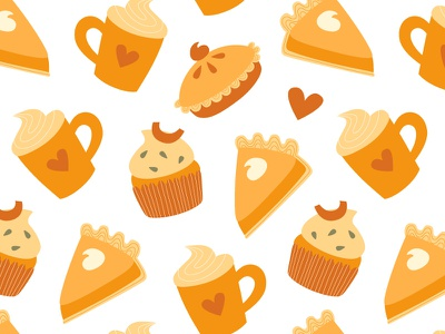 Thanksgiving pattern fabric texture pumpkin thanksgiving day cupcake muffin latte illustration pattern