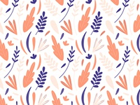 Doodles leaves and plants hand drawn pattern