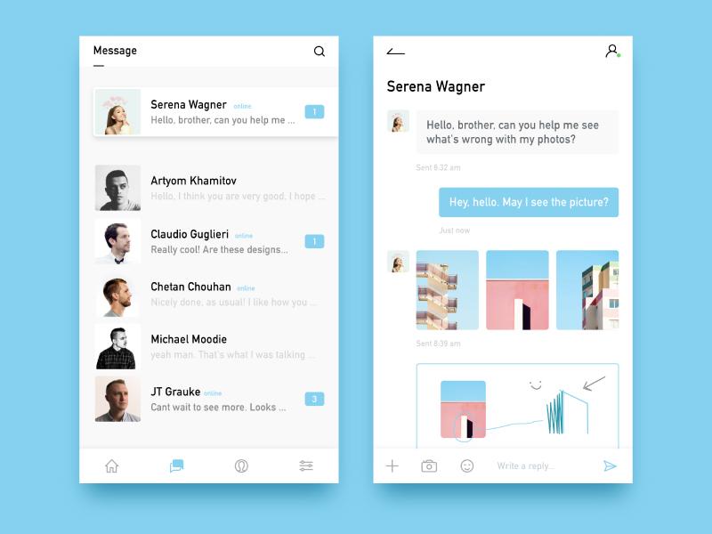 Message app design painting ios design app message