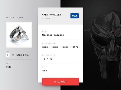 Daily UI #002 - DOOM Shop checkout mf doom credit card check out mfdoom villain ring pay form checkout mask doom daily