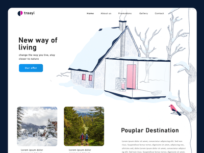 New Destination header nature illustration vector adobexd pink white tree bird cozy house design winter snow illustration home page home