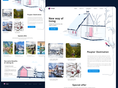 New Destination website ui ux adobe xd home page travel pink white bird design tree cozy house home winter snow illustration vector nature header