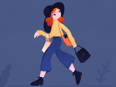 Weekend Shopping fashion hat girl character character design adobe xd details girl yellow blue redhair bag shopping app shopping shop illustration