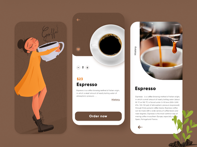 Coffe App brunette brown girl coffee cup coffee adobe xd ordering app design character vector illustration ux ui mobile ux mobile ui app mobile app
