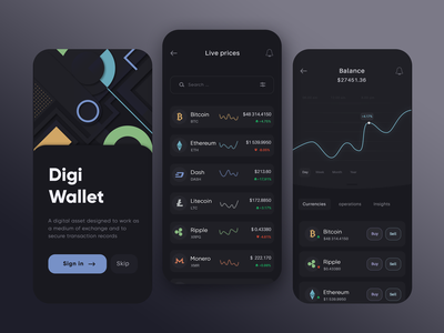 Crypto Portfolio and Exchange sign in ui  ux wallet cryptocurrency exchange trade trading app finance card chart graph ui bitcoin app crypto exchange crypto currency crypto wallet invest