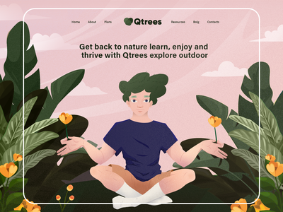 Nature global warming garden flowers calm enviroment web meditation illustration header landing page logo website ui  ux vector illustration adobe xd green flower character design nature plant
