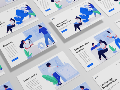 Landing page with Flat illustrations white ux woman office computer blue figam ui design page landing header vector website illustration