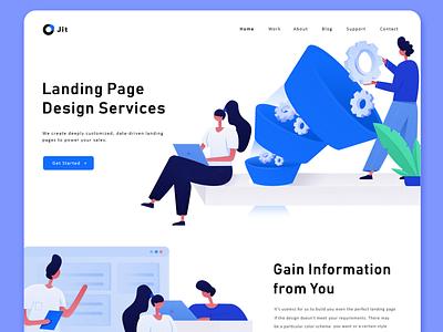 Landing page office research computer figma white blue ux ui design page landing header vector website illustration