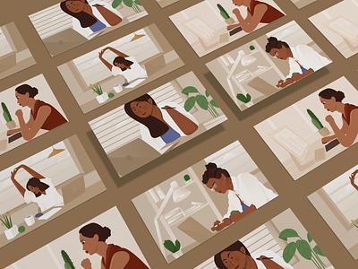 Woman at work office computer work woman brown ui design page landing header vector website illustration