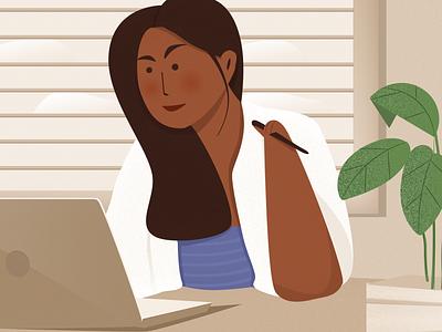 Women at work 🤘🏻 computer brown woman ui design page landing header vector website illustration