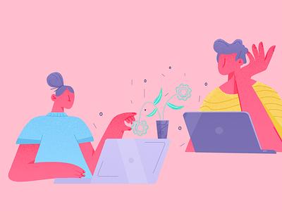 Illustrations 🍷🍷 computer office pink ux ui design page landing header vector website illustration
