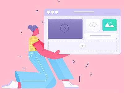 illustrations office work pink ui design page landing header website vector illustration