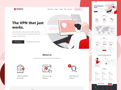 VPN landing page connexion wifi computer vpn red page design logo ui vector isometric illustration landing header website graphic design
