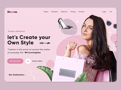 Ecommerce Store website design shop store pink woman ux ui design page landing header website vector illustration