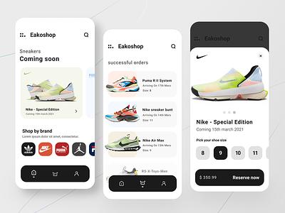 Sneakers shop app Design figma vector design fitness sport list cart ecommerce uiux iphone mobile app shop sneaker