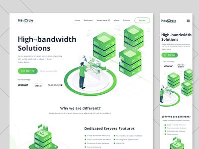 Website with isometric illustrations graphic design isometric wifi green figma logo vector header branding design ui page landing website illustration