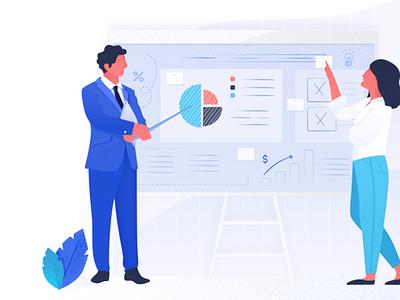 At work 👔 figma computer office work blue ux branding design ui vector page landing header website illustration