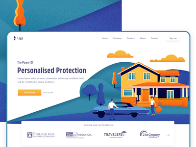 Home insurance landing page ux branding logo design ui page landing header vector website illustration home home insurance