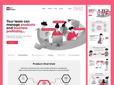 Landing page with illustrations team computer white red figma ui branding logo design page landing header website vector illustration