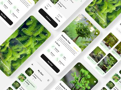 Plant shop app design ai scann figma green shop plant mobile app design ui landing header website vector illustration