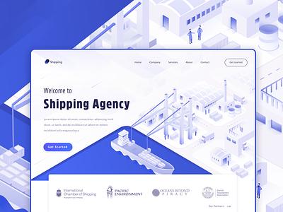 Shipping Landing page computer blue shipping figma header design page ui landing vector website illustration