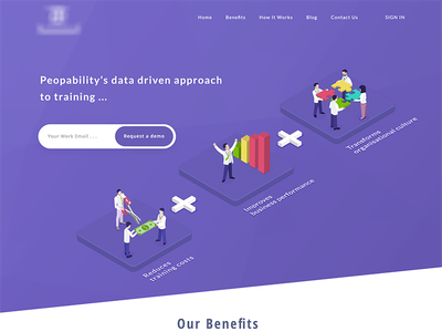 Human resources  demo howitworks statistics isometric homepage purple illustration business humanresources