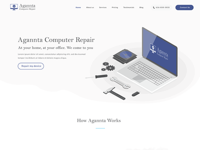 Computer Repair white blue howitworks homepage illustration computer repair