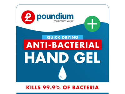 Anti-bacterial hand gel label for Poundium®
