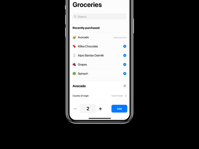 Groceries Screen minimalistic minimalist native ui typography ios user interface visual design ecomerce shopping app grocery app shopping list icons emoji mobile app ux ui groceries