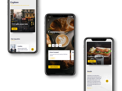 Caffeinated App finder beverages yellow grey white clean images photos culinary app food london paris user interface visual design interaction ux ui app design coffee