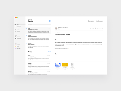 Apple Mail Design dashboard white grey sidebar clean desktop application email app light theme dark theme theme light ux ui design desktop macos app email mail apple