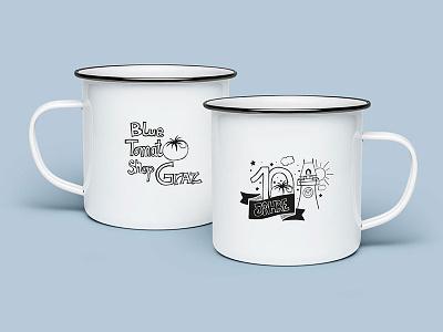 Travel Mugs - 10 years Blue Tomato shop in Graz! illustration design graphic mug travel blue tomato