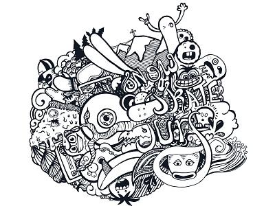 snow surf skate - illustration (BT) drawing adobe illustrator art doodle design graphic vectors illustration blue tomato skate surf snow