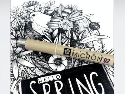 hello spring art inking contrast lines dotwork blackandwhite breeze birds lowers illustration drawing spring