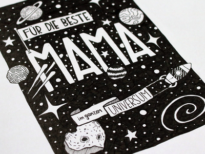 Mother's Day drawing galaxy comet platens art blackandwhite starts universe mama mom space illustration