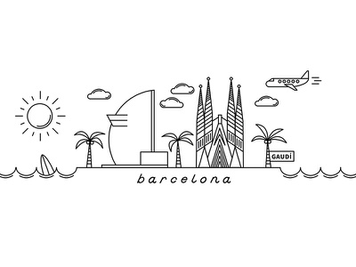 monoline barcelona holiday gaudí palmtree surf sun art illustration barcelona monoline