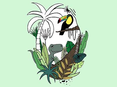 in the jungle wildlife nature green leaves tukan dinosaur color art illustration jungle