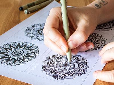 Mini Mandalas art patterns inking analog draw illustration mandalas
