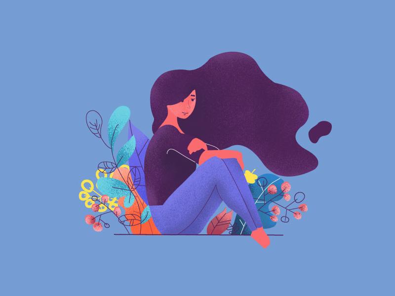 Spring illustrations illustration love garden flowers girl spring graphic colors editorial